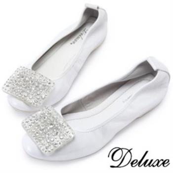 【Deluxe】大小水滴亮鑽平底娃娃鞋(銀)-064-15A