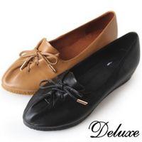 【Deluxe】全真皮抓皺綁帶牛津休閒鞋(咖啡★黑)-006-2
