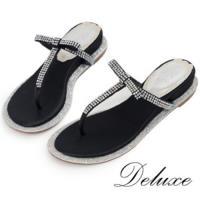 【Deluxe】真皮夾腳涼拖鞋(Bling水晶春夏注目款)-570-5