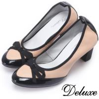 【Deluxe】全真皮復古典雅尖頭跟鞋(粉色)-0767-1