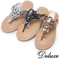 【Deluxe】性感奢華水晶飾鍊鞋(白★咖啡★黑)