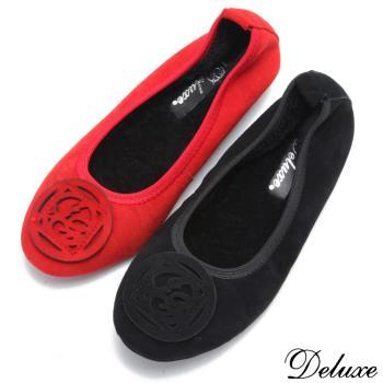 【Deluxe】真皮民族圖騰保暖羊毛娃娃鞋(黑-紅)