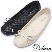 【Deluxe】上班族OL性感小坡跟格紋方頭楔型鞋(杏★黑)-133-2