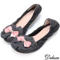 【Deluxe】全真皮圓點絲綢雙層蝴蝶結平底包鞋(黑)-PT01