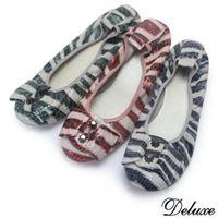 【Deluxe】全真漆皮條紋蝴蝶結金屬扣平底包鞋(粉★藍★綠)-008-32