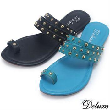 【Deluxe】全真皮英倫個性鉚釘休閒涼拖鞋(黑★藍)