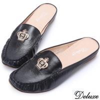 【Deluxe】全真皮水鑽皇冠百搭涼拖鞋(黑)-591-1T