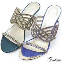 【Deluxe】全真皮巴黎名媛優雅水鑽美型跟涼跟鞋 藍、綠