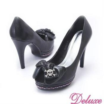 【Deluxe】嚴選羊皮蝴蝶結骷顱水晶飾魚口高跟鞋(★黑)
