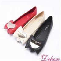 【Deluxe】全真皮閃亮愛心澎澎蝴蝶結平底包鞋(紅★米★黑)-132-2A