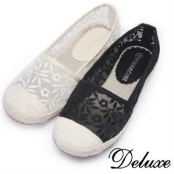 【Deluxe】夏日清涼蕾絲草編便鞋(白★黑)