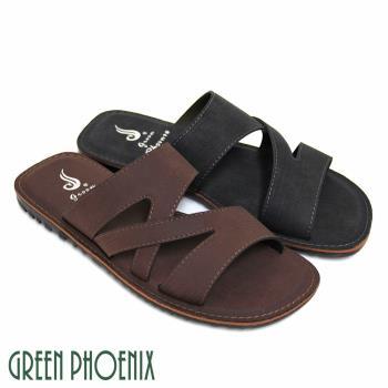 GREEN PHOENIX 個性交叉舒適休閒男拖鞋(男鞋)T33-18721