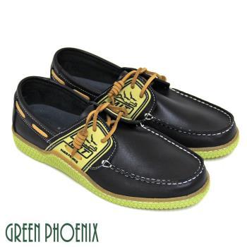 GREEN PHOENIX 獨特型男極簡素面圖騰綁帶蠟感牛皮平底休閒鞋(男鞋)T29-16808