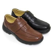 【GREEN PHOENIX】品格主義極簡素面沾黏式全真皮平底輕量休閒鞋(男鞋)-咖啡色、黑色