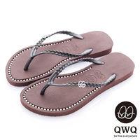 QWQ夾拖的創意(女) - 彩色素面  鞋面施華洛世奇鑽鍊夾腳拖鞋 - 咖啡色
