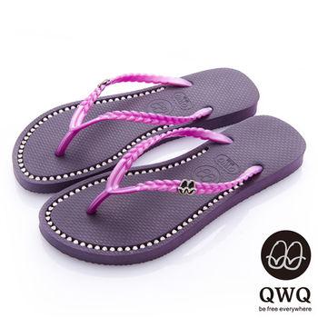 QWQ夾拖的創意(女) - 彩色素面  鞋面施華洛世奇鑽鍊夾腳拖鞋 - 神秘紫