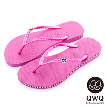 QWQ夾拖的創意(女) - 彩色素面  鞋側施華洛世奇鑽鍊夾腳拖鞋 - 俏麗粉