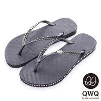 QWQ夾拖的創意(女) - 彩色素面  鞋側施華洛世奇鑽鍊夾腳拖鞋 - 爵士黑