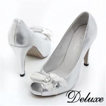 【Deluxe】全真皮緞帶水晶魚口高跟包鞋(銀)