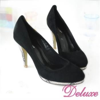 【Deluxe】嚴選羊麂皮蛇紋高跟包鞋(黑)-303-17