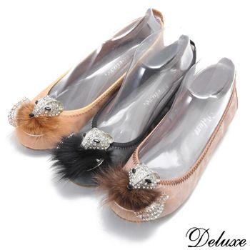 【Deluxe】柔軟貂毛狐狸造型鑲鑽平底娃娃鞋(黑★咖★粉芋)-1016-5