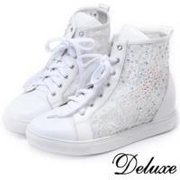 【Deluxe】彩鑽高筒蕾絲網紗厚底休閒鞋(白)-0206-B2