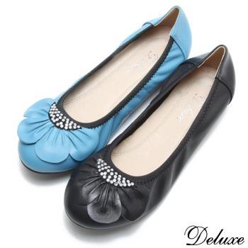 【Deluxe】真皮可愛花瓣燙鑽平底娃娃鞋(藍)-9916-1