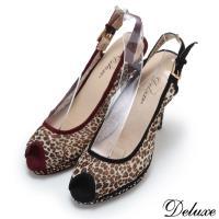 【Deluxe】完美半透明豹紋魚口高跟鞋(二色)-935-31