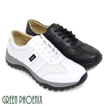 GREEN PHOENIX 悠閒沉穩極簡素面綁帶全真皮厚底休閒男鞋(男鞋)T63-16012