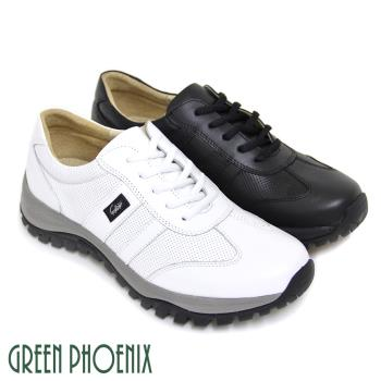 【GREEN PHOENIX】悠閒沉穩極簡素面綁帶全真皮厚底休閒男鞋(男鞋)-白色、黑色