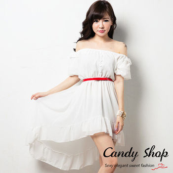Candy 小舖 氣質夢幻 平口設計 縮腰雪紡 長洋裝 ( 黑 / 白 / 紅 ) 3色選