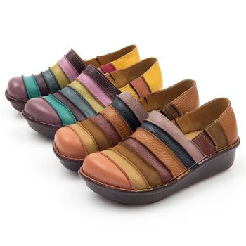 G.Ms. MIT系列-彩虹條紋全牛皮厚底懶人鞋-2色