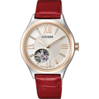 CITIZEN LADY 施華洛世奇水晶鏤空機械女錶-玫瑰金圈x紅/33mm PC1008-03A