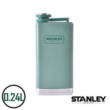 【美國Stanley】不鏽鋼保溫瓶/SS Flask經典酒壺 0.24L(錘紋綠)