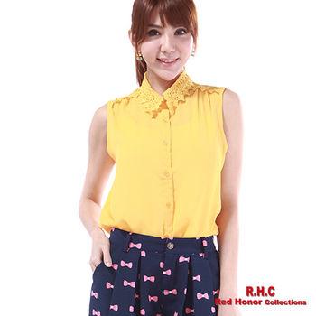 【R.H.C】韓風蕾絲領無袖襯衫