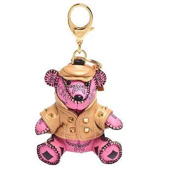 MCM 經典VISETOS風衣小熊造型塗層帆布鑰匙圈/吊飾(粉紅)