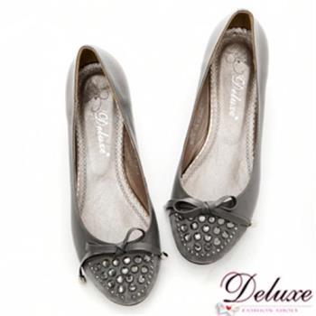 【Deluxe】嚴選真皮拼細絨閃耀水晶低跟包鞋(灰)-508-1