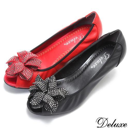【Deluxe】全真皮閃閃立體花型真皮燙鑽魚口鞋(黑☆紅)