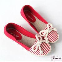 【Deluxe】 休閒風.海軍條紋蝴蝶結 麻繩編織平底鞋 紅 -668-76