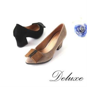 【Deluxe】尖型頭穩厚跟包頭高跟鞋(黑)-131-1