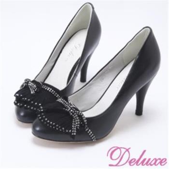 【Deluxe】小資女OL百搭蝴蝶結流蘇燙鑽高跟包鞋(黑)