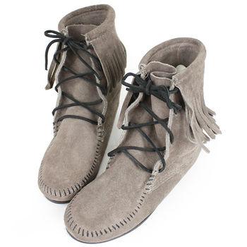 MINNETONKA 灰色麂皮單層流蘇 中筒靴 經典必備-421T