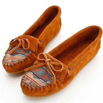 MINNETONKA 深棕色印地安刺繡麂皮莫卡辛 女鞋-472K