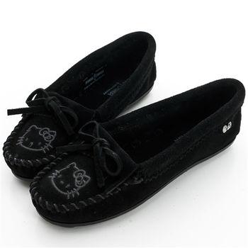 MINNETONKA KITTY聯名 黑色 莫卡辛平底鞋-600K