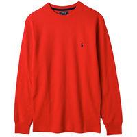 Ralph Lauren男士居家圓領細格長袖上衣 紅(S-XL)