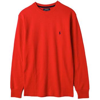 Ralph Lauren男士居家圓領細格長袖T恤 紅(S-XL)