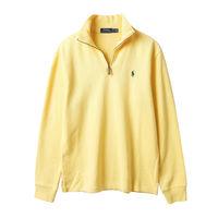 Ralph Lauren 男款素面小馬標拉鍊立領針織上衣-黃(S-XL)