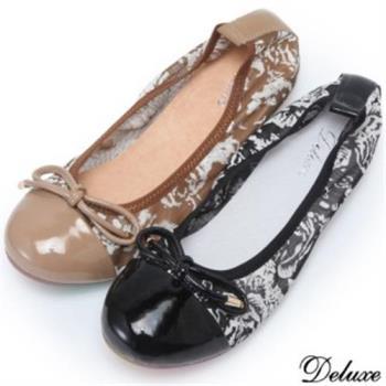 【Deluxe】真皮透氣網紗蝴蝶紐結包頭娃娃鞋(黑.米)-888-5