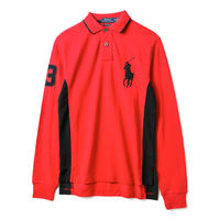 Ralph Lauren  男款大黑馬標長袖POLO衫修身版-紅(S-XL)