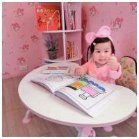 【第一博士】月亮書桌椅組 (粉紅月亮桌+青蛙椅組)